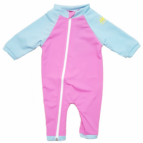 nozone full zipper sun protective upf 50 long sleeve baby girl swimsuit onesie pink blue