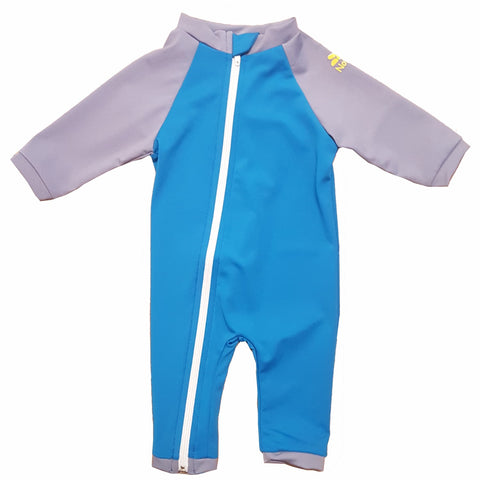 nozone baby boy uv full zip up swimsuit onesie sun protection blue gray lightweight breathable