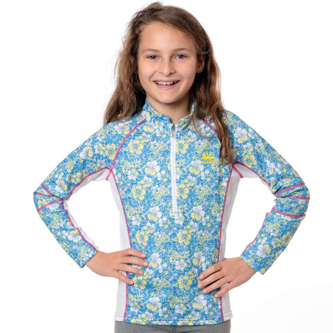 nozone girls floral print uv sun swim shirt long sleeves Nautilus