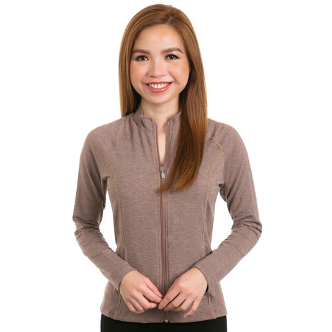 Nozone sun blocking womens full zip long sleeved shirt brown