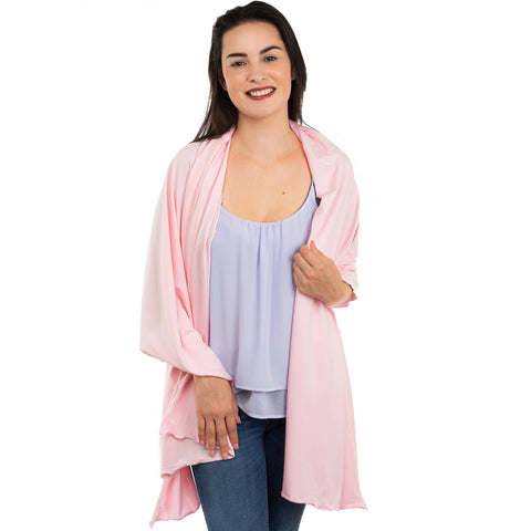 Nozone light soft bamboo pink sun protective drape shawl scarf for women