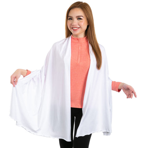 Nozone white thin sun protective drape shawl scarf for women