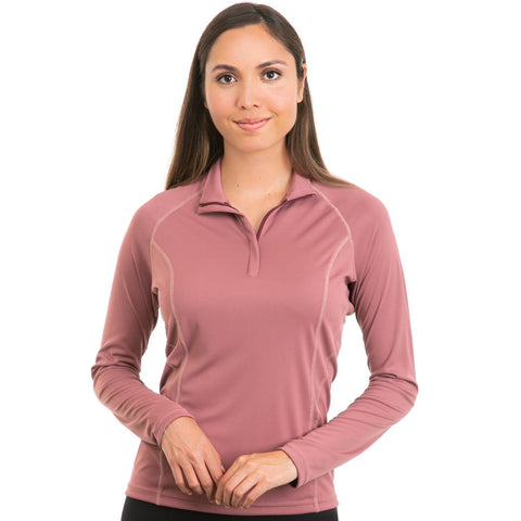 Nozone sun protection upf 50 long sleeve golf equestrian zip polo for women - rose brown