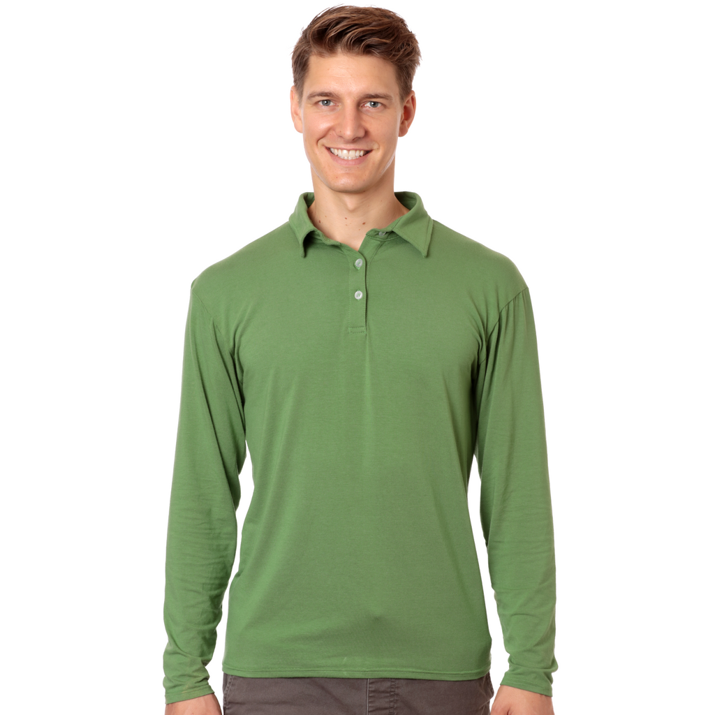 Nozone upf 50+ spf long sleeve mens golf polo bamboo sun protection green