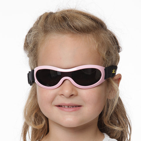 Kids UV400 sun glasses with elasticized strap in pink by Nozone