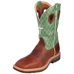 Men's Twisted X Cognac Glazed Pebble / Lime Boots, MLCW002