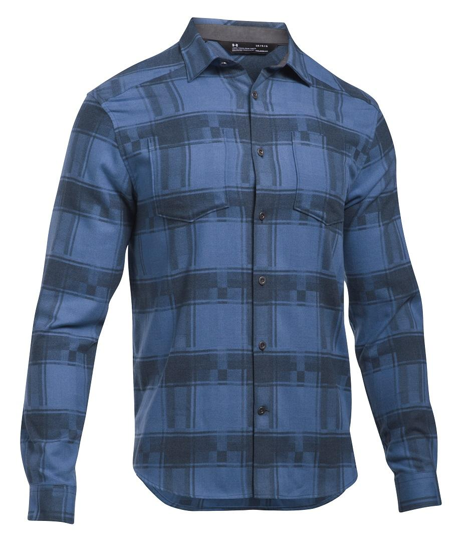 Men's Under Armour Blue Borderland Flannel, 1297263 982