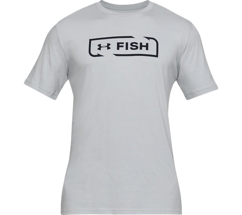 Men's Under Armour Mod Grey / Black Fish Icon SS T-Shirt, 1331201 011