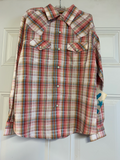 Girl's Wrangler Multicolored Plaid LS Button Down Shirt, GW54019