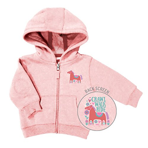 Girl's Farm Girl Pink Crawl Walk Ride Full Zip Hoodie