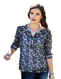 Women's Cruel Girl Charcoal 3/4 Sleeve Printed Chiffon Blouse, CTW7019001