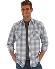 Men's Wrangler Light Purple Plaid Button Down Shirt, MVR357M