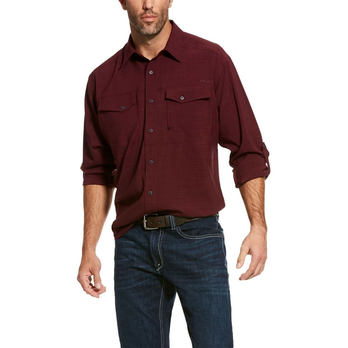 Men's Ariat Ancho Chile Heather VentTek LS Performance Classic Shirt, 10028406