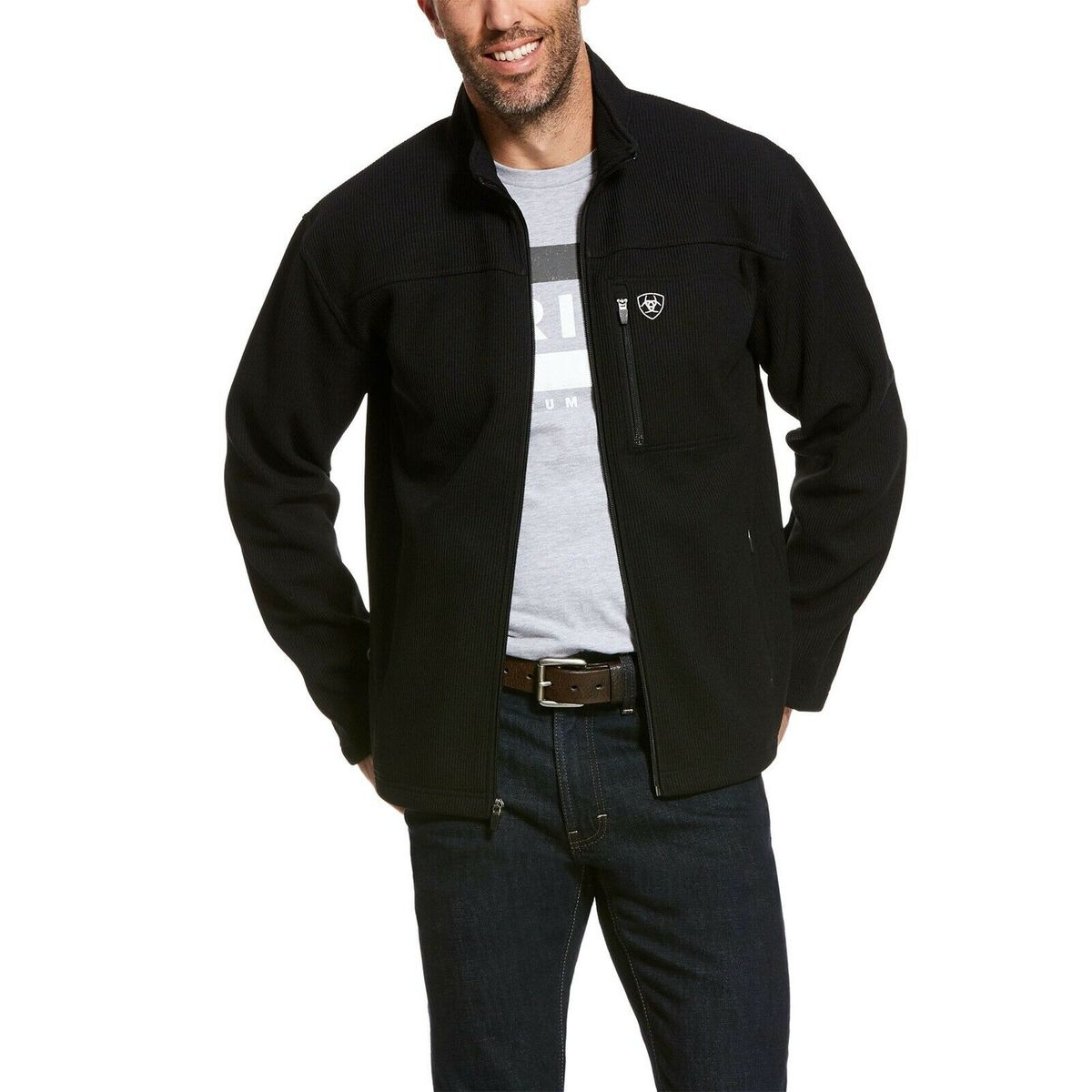 Men's Ariat Black Duratek Fleece Jacket, 10028388