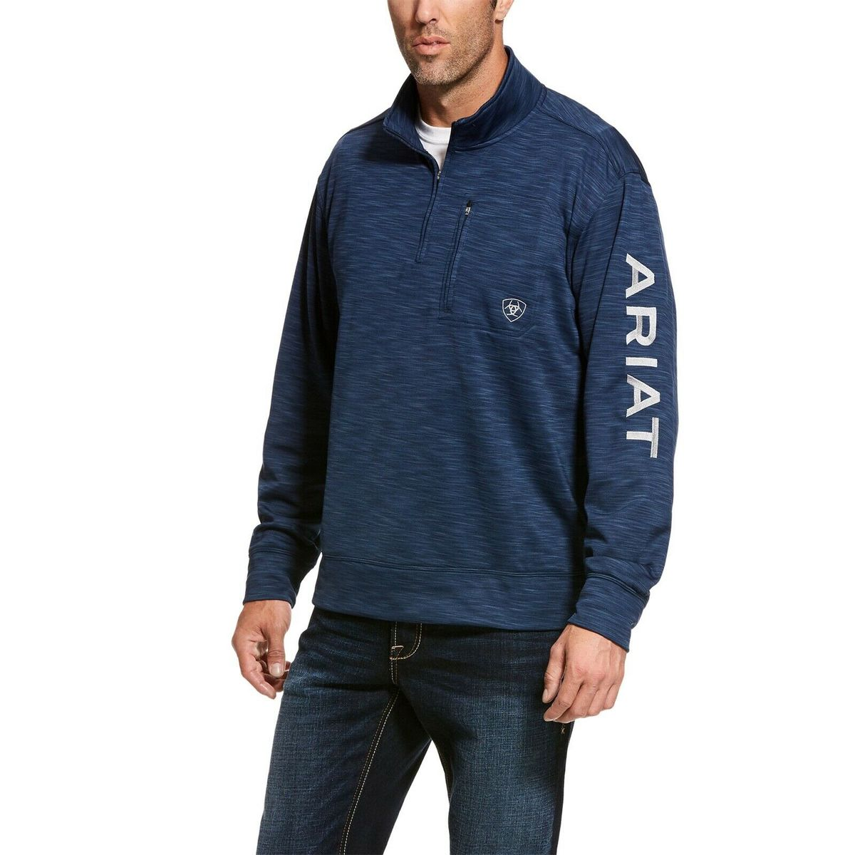 Men's Ariat Indigo Heather Team Logo 1/4 Zip, 10027989