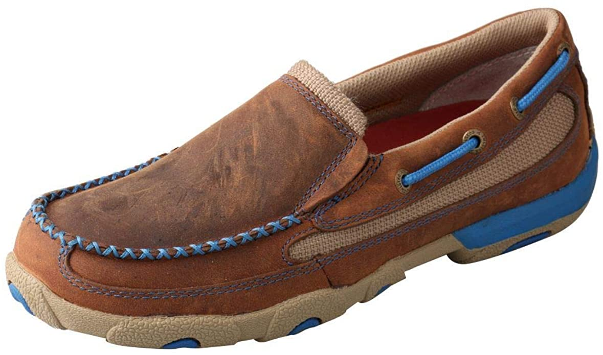 Women's Twisted X Oiled Saddle / Blue Driving Mocs, WDMS004
