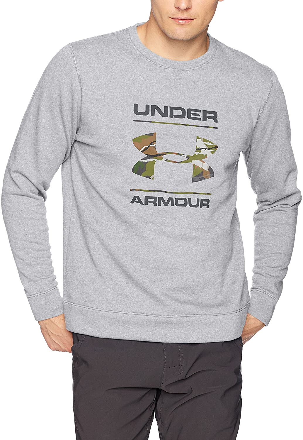 Men's Under Armour Grey / Camo Fill Threadborne Crewneck, 1297252 025