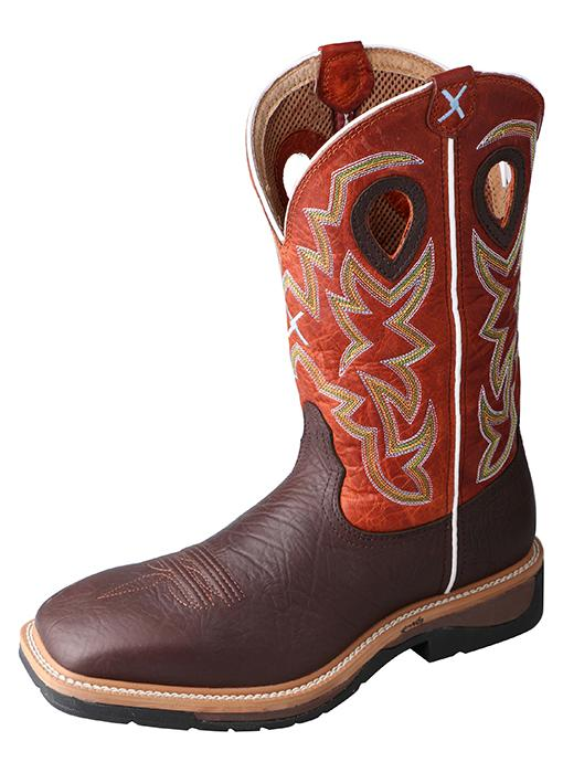 Men's Twisted X Brown Oiled Shoulder / Orange Boots, MLCW011