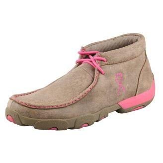 Women's Twisted X Dusty Tan / Neon Pink Driving Mocs, WDM0012