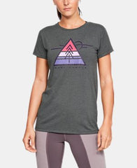 Women's Under Armour Grey / Purple Luxe Triangle Graphic SS T-Shirt, 1325808 010