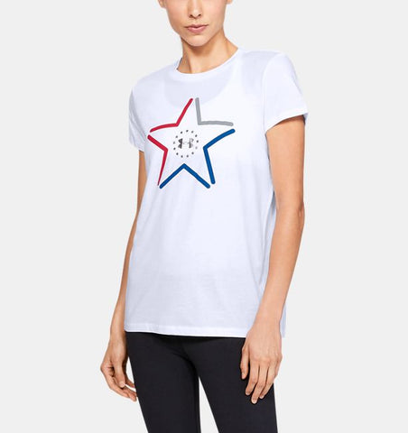 Women's Under Armour Emerald Sari Freedom Logo SS T-Shirt, 1327572 100