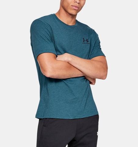 Men's Under Armour Petrol Blue Sportstyle Left Chest SS T-Shirt, 1326799 438
