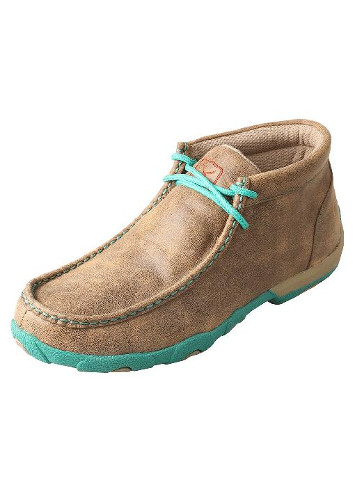 Women's Twisted X Turquoise Bomber Driving Mocs, WDM0020