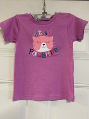 Girl's Farm Girl Purple Stay Pawsitive T-Shirt
