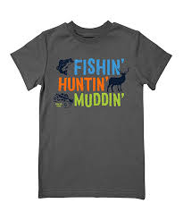 Boy's Farm Boy Charcoal Huntin' Fishin' Muddin' T-Shirt
