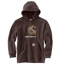 Boy's Carhartt Brown / Camo Logo Sweatshirt, CA8537 D17