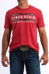 Men's Cinch Red Graphic SS T-Shirt, MTT1690308