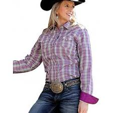 Women's Cinch Purple Plaid LS Button Down Shirt, MSW9200011