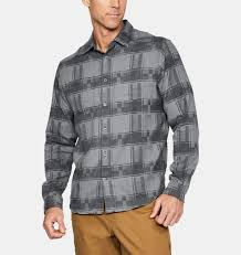 Men's Under Armour Grey Borderland Flannel, 1297263 040