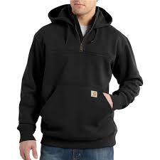 Men's Carhartt Black Paxton Heavyweight Hooded Zip Mock Sweatshirt, 100617 001