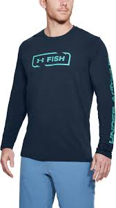 Men's Under Armour Navy / Blue Fish Icon LS Shirt, 1322940 408