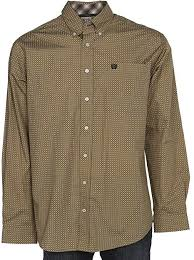 Men's Cinch Tan Pattern Button Down Shirt, MTW1104539