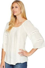 Women's Wrangler Cream Lace Insets Off the Shoulder Top, LW6214N