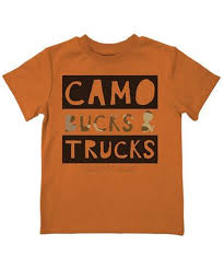 Boy's Farm Boy Orange Camo Bucks and Trucks Shirt