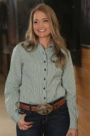 Women's Cinch Green / Navy Pinstripe Snap Up Western Shirt, MSW9164040