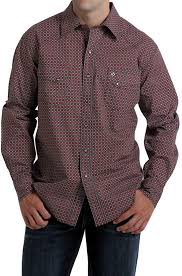 Men's Cinch Red Pattern Garth Brooks Sevens Button Down Shirt, HTW4001005