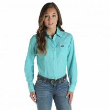 Women's Wrangler Blue LS Button Down Shirt, LW6591G