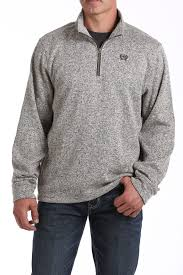 Men's Cinch Khaki Heather 1/4 Zip Pullover, MWK1080003