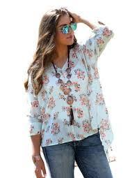 Women's Cruel Girl Blue 3/4 Sleeve Printed Chiffon Blouse, CTW7143002