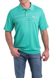 Men's Cinch Blue / Green Stripe SS ArenaFlex Polo Shirt, MTK1820018