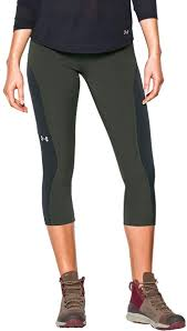 Women's Under Armour Combat Green / Black ArmourVent Trail Capri Pants, 1271617 994