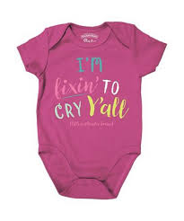 Girl's Farm Girl Light Pink I'm Fixin' to Cry Y'all Onesie
