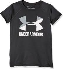 Girl's Under Armour Black / White Big Logo SS T-Shirt, 1299322 002