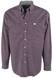 Men's Cinch Burgundy / Cream Pattern Button Down Shirt, MTW1104471