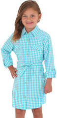 Girl's Wrangler Turquoise Plaid LS Dress, GWD271Q