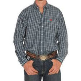 Men's Cinch Blue Plaid Button Down Shirt, MTW1104497